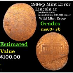 1984-p Mint Error Lincoln Cent 1c Grades Select+ Unc RB