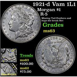 1921-d Vam 1L1 Morgan Dollar $1 Grades Select Unc