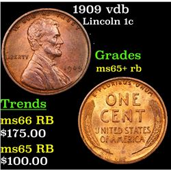 1909 vdb Lincoln Cent 1c Grades Gem+ Unc RB