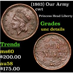 (1863) Our Army Civil War Token 1c Grades Unc Details