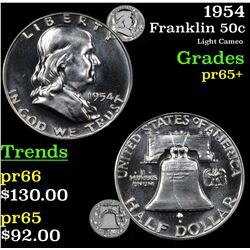1954 Franklin Half Dollar 50c Grades GEM+ Proof