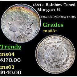 1884-o Rainbow Toned Morgan Dollar $1 Grades Select+ Unc