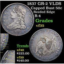 1837 GR-2 VLDS Capped Bust Half Dollar 50c Grades vf++