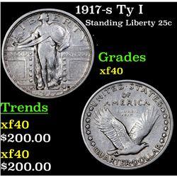 1917-s Ty I Standing Liberty Quarter 25c Grades xf