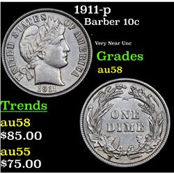 1911-p Barber Quarter 25c Grades Choice AU/BU Slider