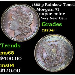 1885-p Rainbow Toned Morgan Dollar $1 Grades Choice+ Unc