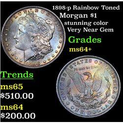 1898-p Rainbow Toned Morgan Dollar $1 Grades Choice+ Unc