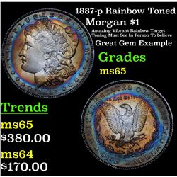 1887-p Rainbow Toned Morgan Dollar $1 Grades GEM Unc