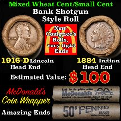 Mixed small cents 1c orig shotgun roll, 1916-d Wheat Cent, 1884 Indian Cent other end