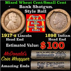 Mixed small cents 1c orig shotgun roll, 1917-s Wheat Cent, 1898 Indian Cent other end