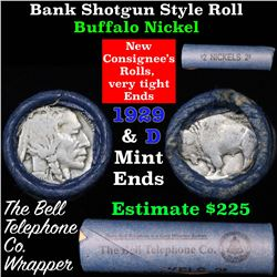 Buffalo Nickel Shotgun Roll in Old Bank Style  'Bell Telephone' Wrapper 1929 & d Mint Ends
