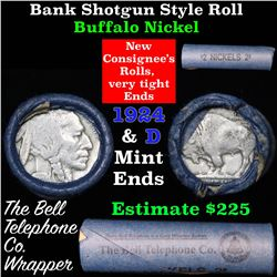 Buffalo Nickel Shotgun Roll in Old Bank Style 'Bell Telephone'  Wrapper 1924 & d Mint Ends