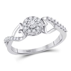 Diamond Cluster Heart Promise Bridal Ring 1/6 Cttw 10kt White Gold