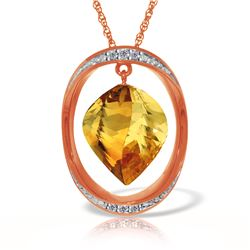 Genuine 11.85 ctw Citrine & Diamond Necklace 14KT Rose Gold - REF-112M4T