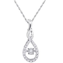 Diamond Solitaire Moving Twinkle Teardrop Pendant 1/4 Cttw 10kt White Gold