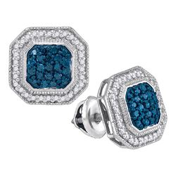 Round Blue Color Enhanced Diamond Octagon Frame Cluster Earrings 1/2 Cttw 10kt White Gold