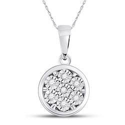 Diamond Illusion-set Flower Cluster Pendant 1/20 Cttw 10kt White Gold