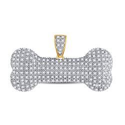 Mens Diamond Dog Bone Charm Pendant 3/4 Cttw 10kt Yellow Gold