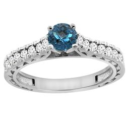 0.86 CTW London Blue Topaz & Diamond Ring 14K White Gold - REF-62F5N