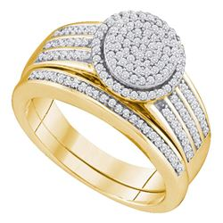 Diamond Bridal Wedding Engagement Ring Band Set 3/8 Cttw 10kt Yellow Gold