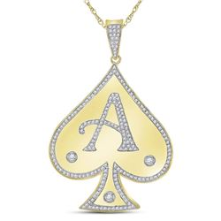 Mens Diamond Spade Aces Charm Pendant 5/8 Cttw 10kt Yellow Gold