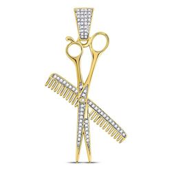 Mens Diamond Barber Scissors Comb Clippers Charm Pendant 1/3 Cttw 10kt Yellow Gold