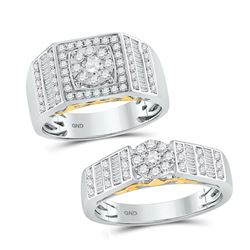 His & Hers Diamond Solitaire Matching Bridal Wedding Ring Band Set 1-1/5 Cttw 14kt Two-tone Gold