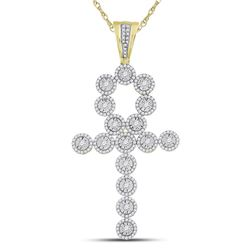 Mens Diamond Ankh Cross Charm Pendant 2-3/4 Cttw 14kt Yellow Gold