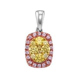 Round Yellow Pink Diamond Oval Frame Cluster Pendant 3/4 Cttw 14kt White Gold
