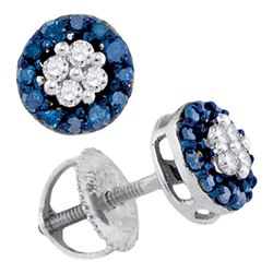 Round Blue Color Enhanced Diamond Cluster Screwback Earrings 1/3 Cttw 10kt White Gold