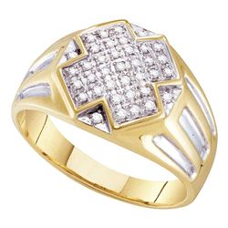 Mens Diamond Cross Cluster Ring 1/4 Cttw 10kt Yellow Two-tone Gold