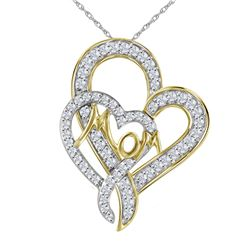 Diamond Double Heart Mom Pendant 1/3 Cttw 10kt Yellow Gold