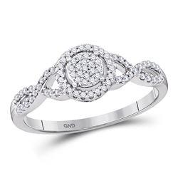 Diamond Cluster Twist Bridal Wedding Engagement Ring 1/5 Cttw 10kt White Gold