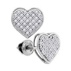 Diamond Heart Cluster Screwback Earrings 1/6 Cttw 10kt White Gold