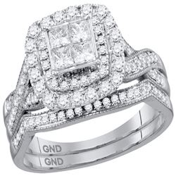 Diamond Cluster Halo Bridal Wedding Engagement Ring Band Set 1.00 Cttw 14kt White Gold