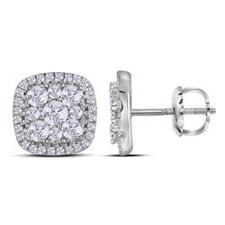 Diamond Framed Square Cluster Earrings 1.00 Cttw 10kt White Gold