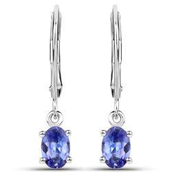 0.88 ctw Tanzanite Earrings 14K White Gold - REF-27R4K