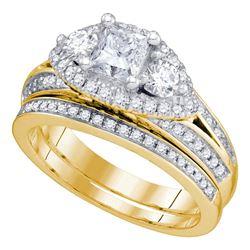 Diamond Bridal Wedding Engagement Ring Band Set 2-3/4 Cttw 14kt Yellow Gold