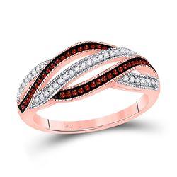 Round Red Color Enhanced Diamond Fashion Band Ring 1/4 Cttw 10kt Rose Gold