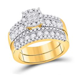 Diamond Bridal Wedding Engagement Ring Band Set 1-3/4 Cttw 14kt Yellow Gold