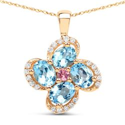 0.89 ctw Swiss Blue Topaz, Tourmaline Pink & Diamond Pendant 14K Yellow Gold - REF-31F8W