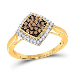 Round Brown Diamond Diagonal Square Cluster Ring 1/3 Cttw 10kt Yellow Gold
