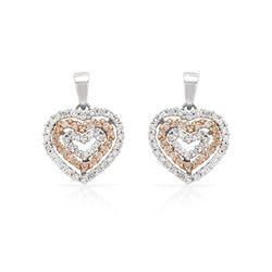 0.64 CTW Diamond Earrings 14K 2Tone Gold - REF-49H3M