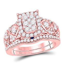 Diamond Vintage-inspired Bridal Wedding Engagement Ring Band Set 1.00 Cttw 14kt Rose Gold