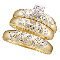 His Hers Diamond Solitaire Matching Bridal Wedding Ring Band Set 1/20 Cttw 10kt Yellow Gold
