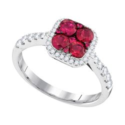 Round Ruby Square Frame Cluster Diamond Ring 1.00 Cttw 14kt White Gold