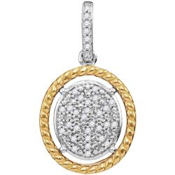 Diamond Oval Cluster Yellow-tone Rope Frame Pendant 1/12 Cttw 10kt Two-tone Gold