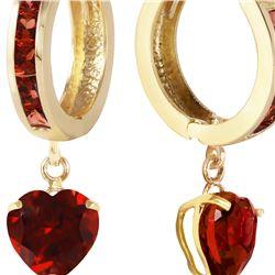 Genuine 4.1 ctw Garnet Earrings 14KT Yellow Gold - REF-52F2Z