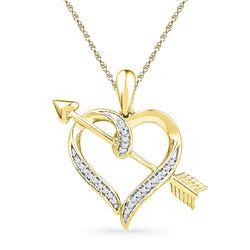 Diamond Heart Arrow Pendant 1/12 Cttw 10kt Yellow Gold