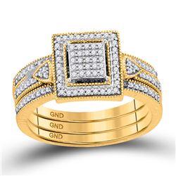 Diamond Square 3-Piece Bridal Wedding Engagement Ring Band Set 1/3 Cttw 10kt Yellow Gold